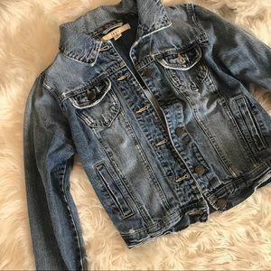 Distressed Medium Wash Jean Jacket